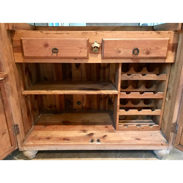 Customized Mexican Pine Cantina Dry Bar Cabinet - Image 6 of 10