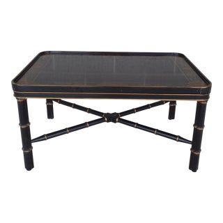 Wellington Hall Black Lacquer Chinoiserie Decorated Faux Bamboo Cocktail Table