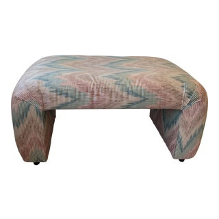 Vintage Upholstered Waterfall Wheeled Bench For Sale