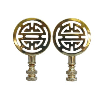 Chinoiserie Style Solid Brass Lamp Finials - a Pair For Sale