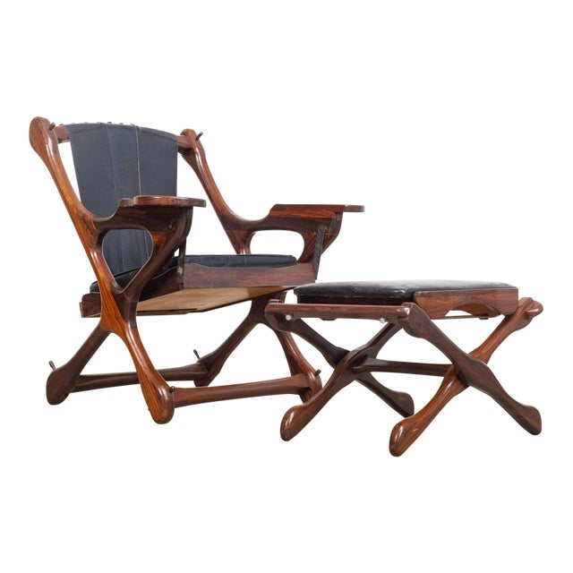 Mid Century Mexican Modern Don Shoemaker Swinger Chair With Ottoman For Sale
