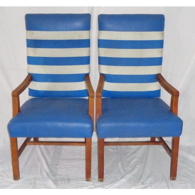Nautical Themed Leather & Canvas Chairs - Set of 4 - Image 2 of 6