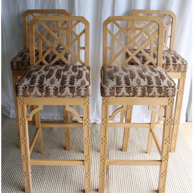 Fantiastic stools with open Chinese Chippendale back and fretwork down front legs. They are in great condition consistant...