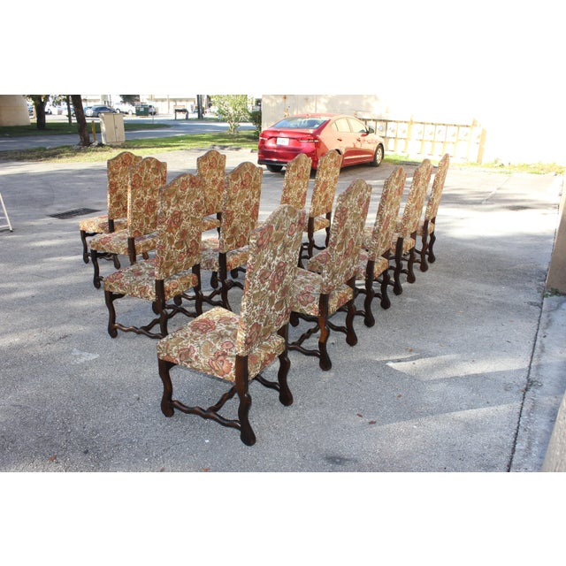 Wood 1900s Vintage French Louis XIII Style Os De Mouton Dining Chairs - Set of 12 For Sale - Image 7 of 13