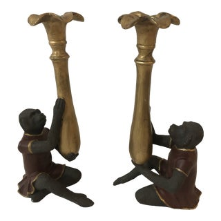 Vintage Figurative Handpainted Monkey Candlesticks - a Pair For Sale