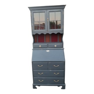 Vintage Boho Chic Secretary / China Cabinet With Red Southwest Stripe For Sale
