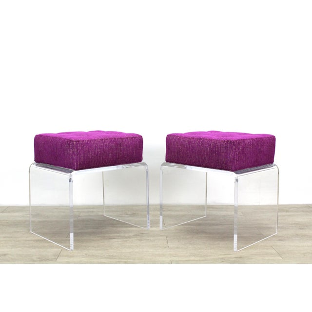 Pair of custom waterfall acrylic benches with luxurious chenille upholstered cushions Minimalist and elegant Dimensions;...