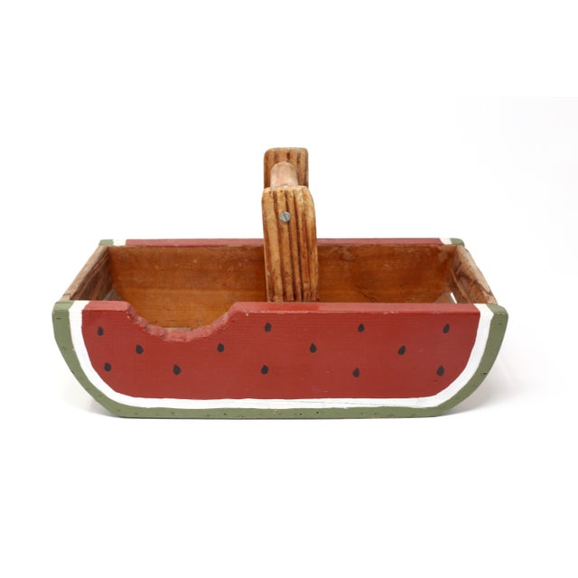 "A vintage, rustic handmade basket, with hand-painted watermelon slice design. Very sturdy; good vintage condition. 7"" x..."