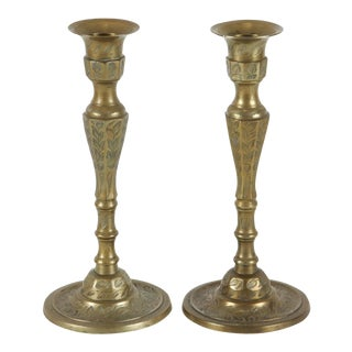Pair of Hand-Crafted Brass Candle Holder For Sale