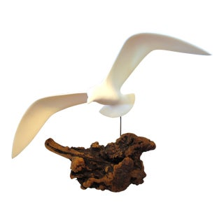 Vintage Mid-Century Seagull Sculpture on Driftwood Sculpture For Sale