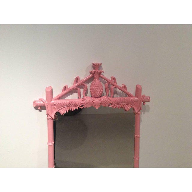 Gampel & Stoll Lacquered Flamingo Pink Faux Bamboo Wall Mirror - Image 9 of 10