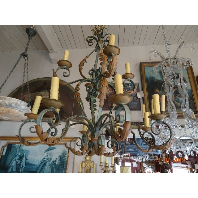 Wrought Iron French Chandelier For Sale - Image 10 of 12
