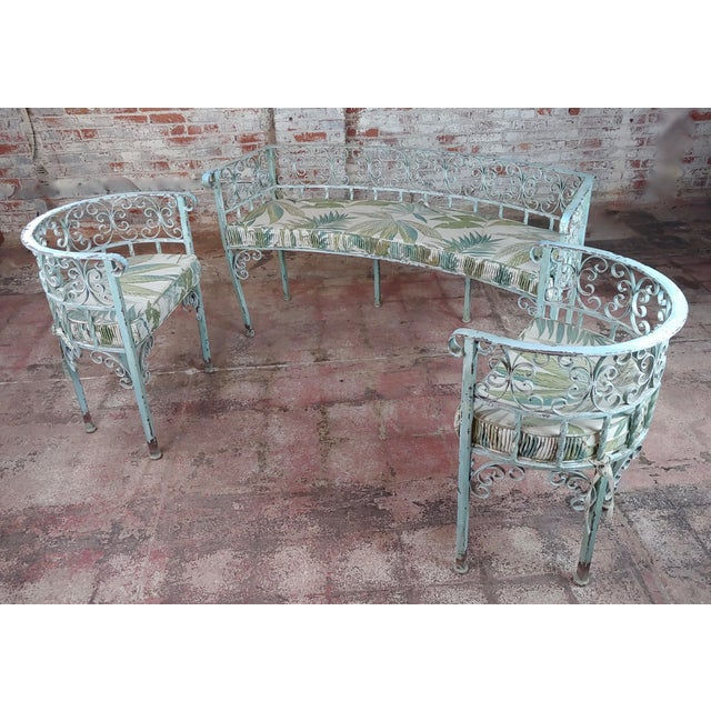 "Art Nouveau Antique Cast Iron Patio & Garden Settee & 2 Chairs set Settee size 60 x 25 x 32"" seat height 23"" Chair size 25..."