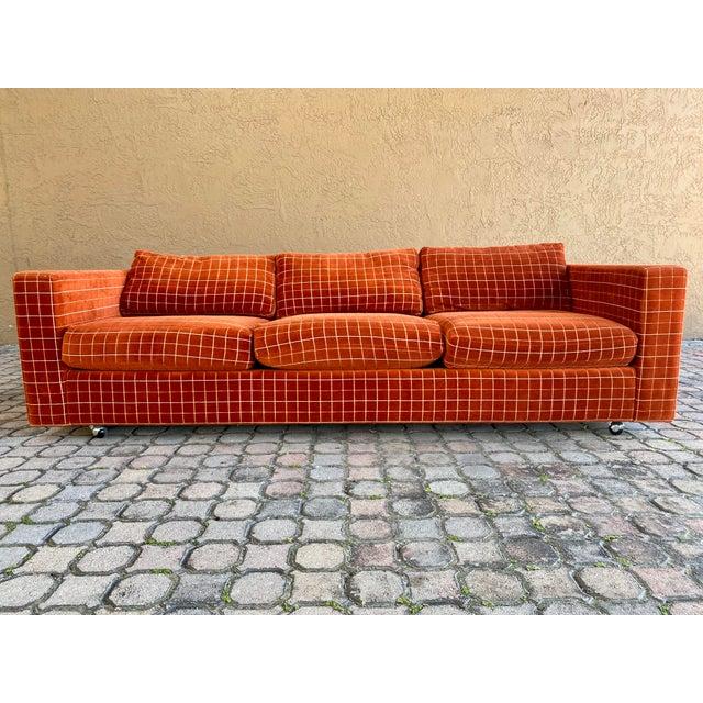 American 70s Orange Stripped Long Sofa Baughman/Probber Era For Sale - Image 3 of 9