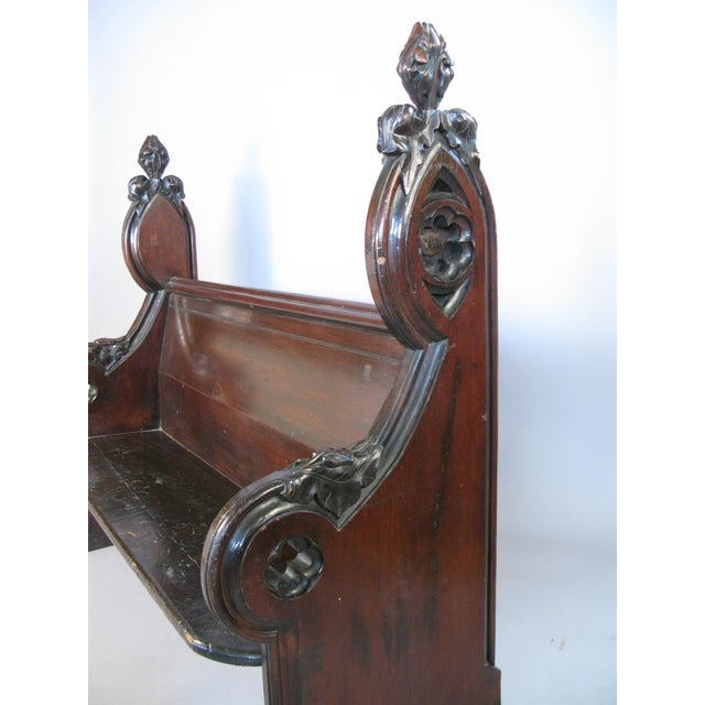 Antique Gothic Hall Bench For Sale - Image 9 of 10