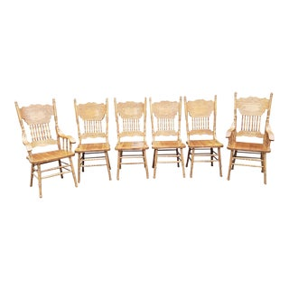 Set 6 Vintage 1990s Oak Press Back Country Dining Room ~ Kitchen Chairs For Sale
