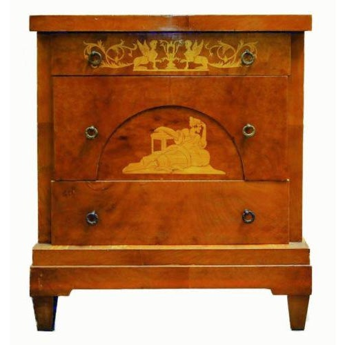 19th Century Biedermeier Walnut Inlaid Two-Drawer Commode For Sale - Image 10 of 10