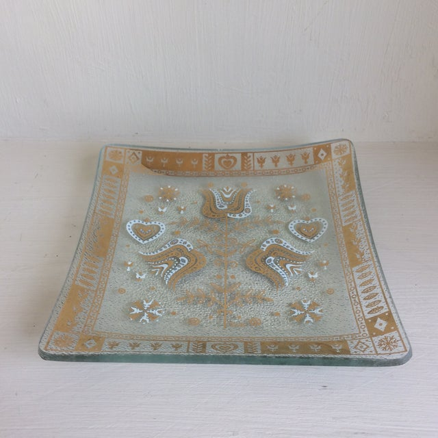 Signed Porter dishes made in the 1960's. Two matching square glass trinket dishes. Embellished with gold and white designs.