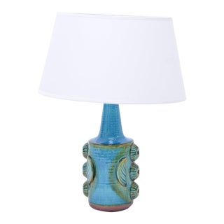 Vintage Blue Stoneware Model 1203 Table Lamps from Søholm, 1960s, Set of 2 For Sale