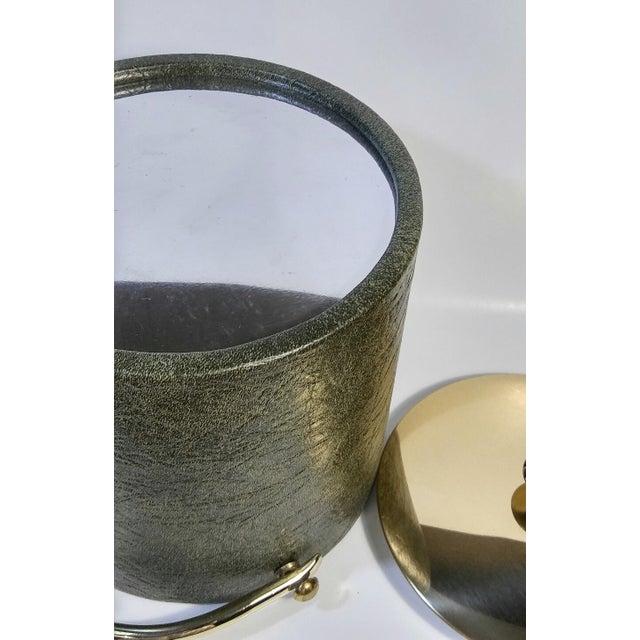 Vinyl 1960s Mid-Century Modern Green & Gold Ice Bucket For Sale - Image 7 of 9