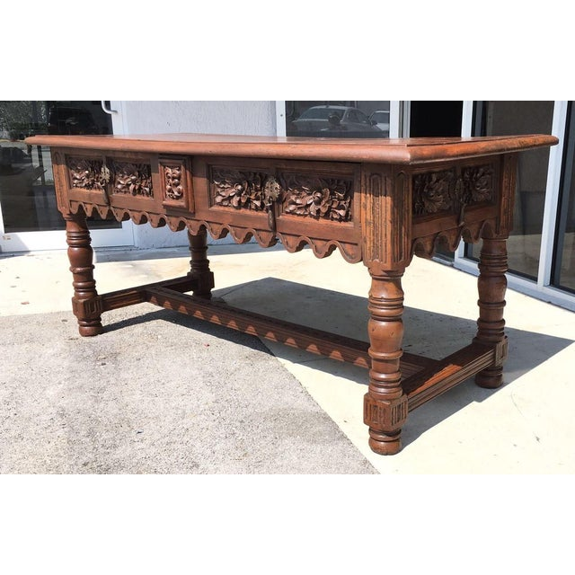 17th Century Spanish Baroque Carved Walnut, Refectory Console Table For Sale - Image 5 of 10
