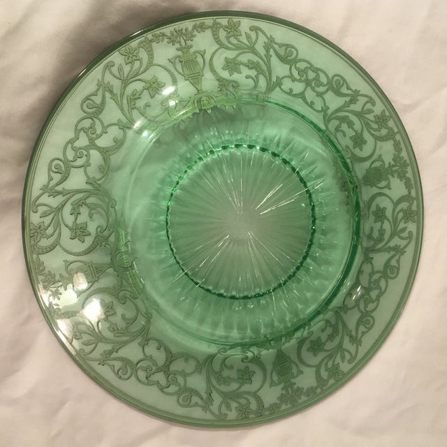 Green Pressed Glass Plate with Sterling Silver Overlay For Sale In Charlotte - Image 6 of 7