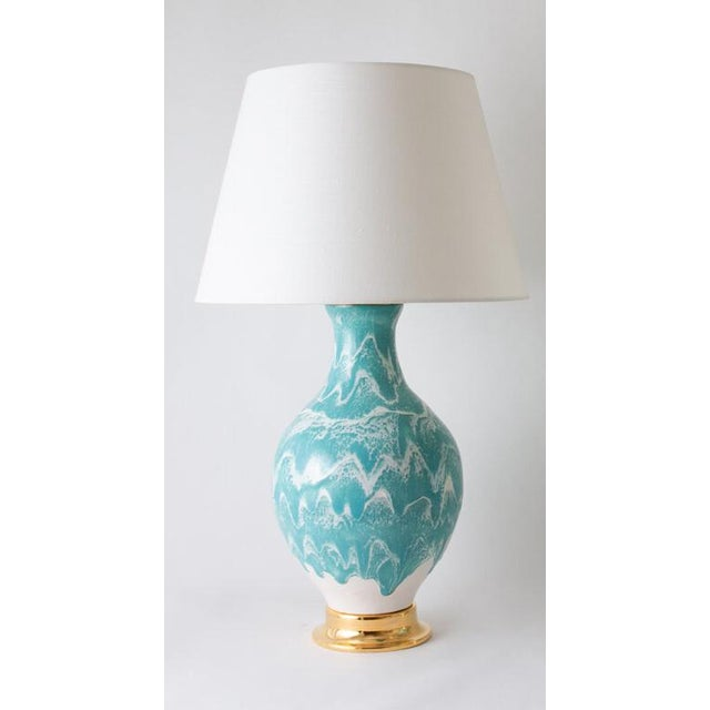 "Contemporary Paul Schneider Ceramic ""Athens"" Lamp in Drip Banded Briland Glaze For Sale - Image 3 of 3"