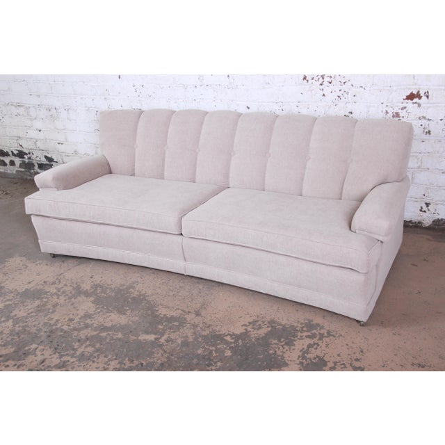 Mid-Century Modern Mid-Century Modern Curved Tufted Sofa, Newly Reupholstered For Sale - Image 3 of 12