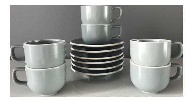 Massimo Vignelli Sasaki Colorstone Tea Cups / Saucers - Set of 6 - Image 1 of  sc 1 st  Chairish & Massimo Vignelli Sasaki Colorstone Tea Cups / Saucers - Set of 6 ...