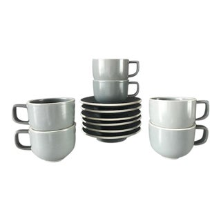 Massimo Vignelli Sasaki Colorstone Tea Cups / Saucers - Set of 6
