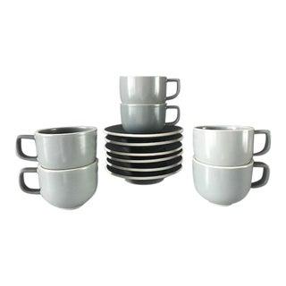 Massimo Vignelli Sasaki Colorstone Tea Cups / Saucers - Set of 6 For Sale