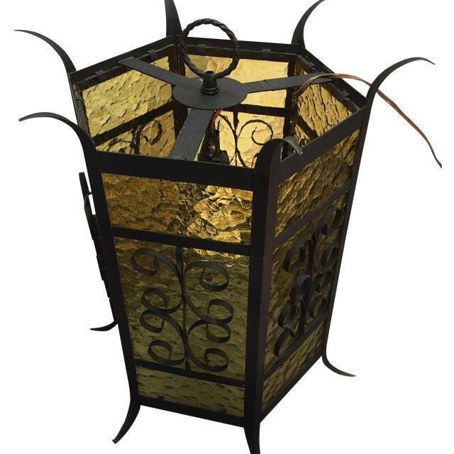 Gothic Spanish Revival Iron Slag Glass Light - Image 1 of 6