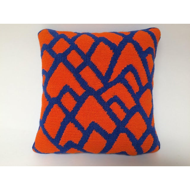 Contemporary Needlepoint Orange and Blue Bargello Accent Throw Pillow For Sale - Image 4 of 4