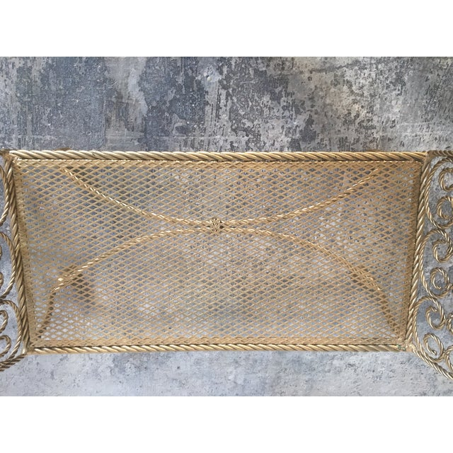 Hollywood Regency Gold Gilt Wrought Iron Tassel Vanity Bench For Sale - Image 9 of 10