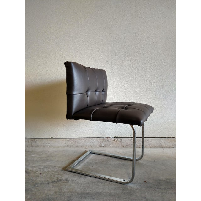 Tufted Dark Cowhide Leather Chair - Image 4 of 5