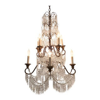 19th Century Italian 10 Light Crystal Chandelier For Sale