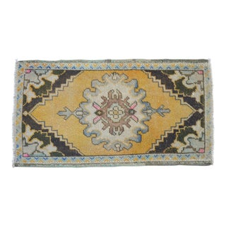 Distressed Low Pile Yastik Rug Faded Small Rug Bath Mat- 20'' X 37'' For Sale