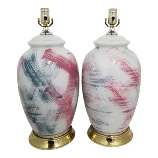 1970s Vintage Abstract Brush Stroke Ginger Jar Lamps - a Pair For Sale
