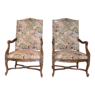 19th Century French Provincial Walnut High-Back Armchairs- a Pair For Sale