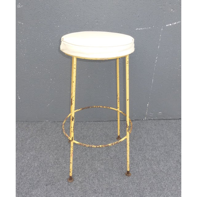 Vintage Yellow Metal & White Vinyl Bar Stool French Country Farmhouse Industrial For Sale - Image 4 of 11