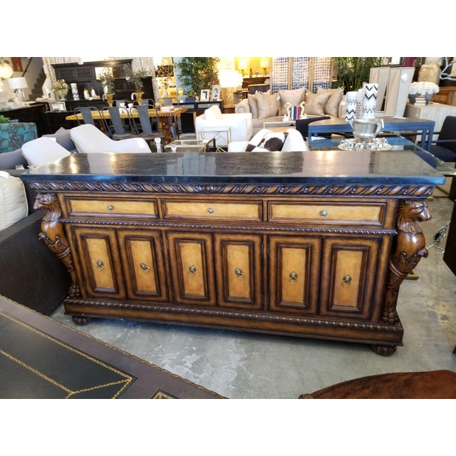 Traditional Black Faux Marble Top Buffet with Lion Motif Corner Pillars For Sale - Image 10 of 10