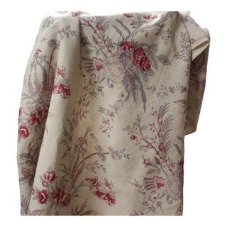Antique 1930s French Printed Linen Pink Purple & Red Faded Floral Drape Curtain For Sale