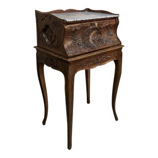 19th Century Country French Provincial Marble Top Nightstand