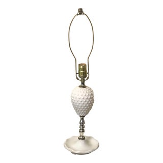 Fenton Hobnail Milk Glass Table Lamp For Sale
