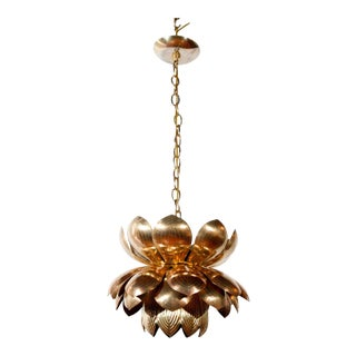 1960s Mid-Century Modern Brass Lotus Pendant For Sale