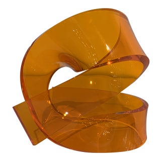 Abstract Orange Acrylic Sculpture For Sale