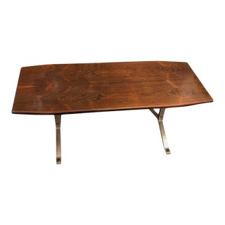 1970s Italian Vintage Rosewood Rio and Steel Coffee Table For Sale