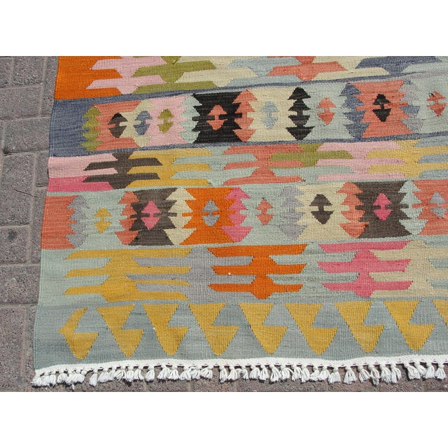 "Blue Vintage Turkish Kilim Rug - 5'6"" x 8'1"" For Sale - Image 8 of 11"
