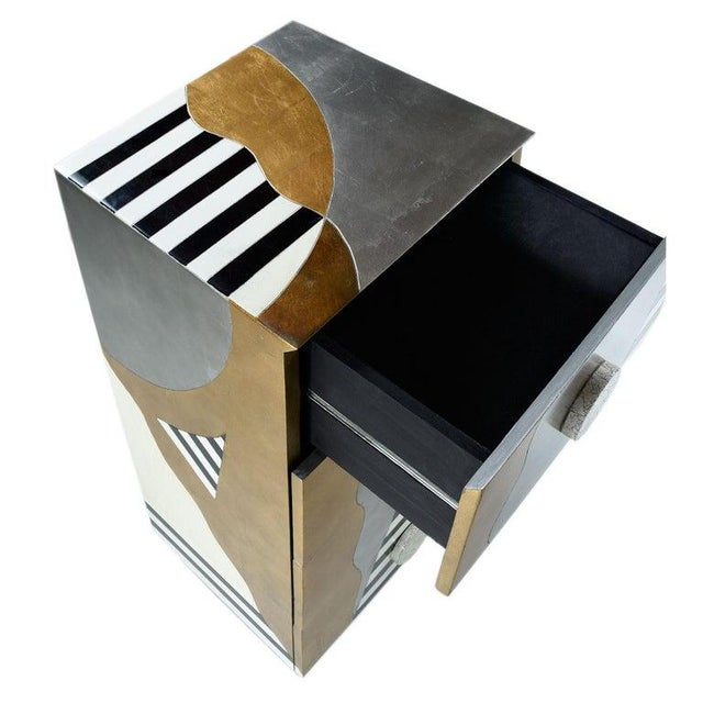 1980s Memphis Sottsass Style Silver and Gold Foil Pyramidal Dresser Chest of Drawers For Sale - Image 5 of 10