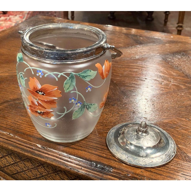 Metal Early 20th Century Silver Plated and Painted Frosted Glass Candy Jar With Lid For Sale - Image 7 of 12